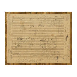 Beethoven 9th Symphony, Music Manuscript Wood Print