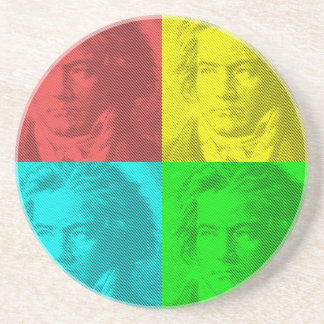 Beethoven Portrait In Squares Coaster