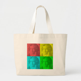 Beethoven Portrait In Squares Large Tote Bag