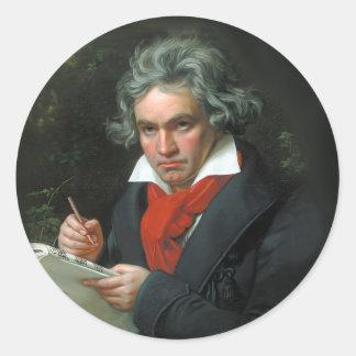 Beethoven Portrait Vintage Round Sticker