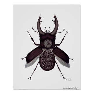 Beetle clock surreal black and white drawing poster