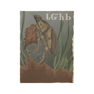 Beetle Finds Mud Wood Poster