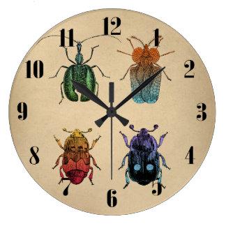 Beetles Vintage Illustration Wall Clocks
