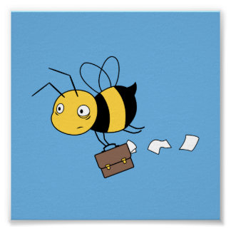 Beezness Bee - Stressed Bee Holding Briefcase Poster