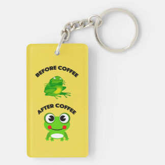 Before coffee After coffee frog Double-Sided Rectangular Acrylic Key Ring