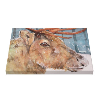 Before The Dusk. Reindeer in snow. Box canvas Canvas Print