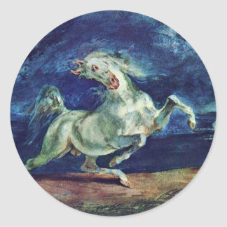 Before The Lightning Frightened Horse Classic Round Sticker