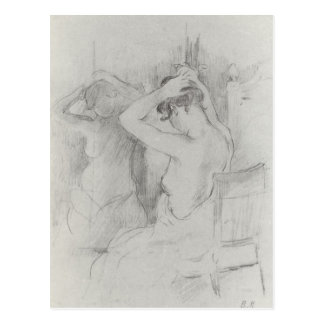 Before the mirror by Berthe Morisot Postcards