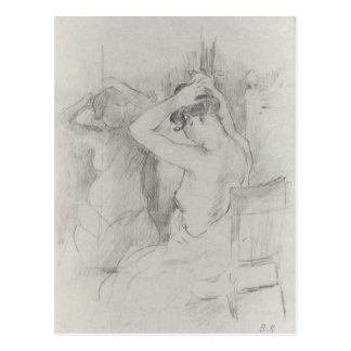 Before the mirror by Berthe Morisot Post Card