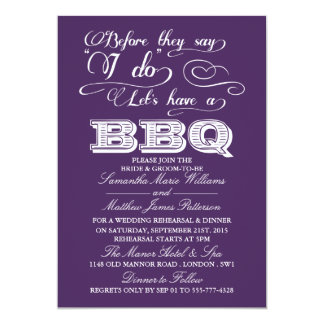 Before They Say I Do Lets Have A BBQ! - Purple 13 Cm X 18 Cm Invitation Card