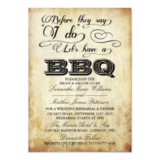 Before They Say I Do Lets Have A BBQ! - Vintage 13 Cm X 18 Cm Invitation Card