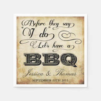 Before They Say I Do Lets Have A BBQ! - Vintage Disposable Serviette