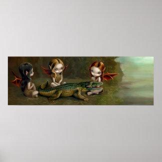 Befriending an Alligator fairy Art Print