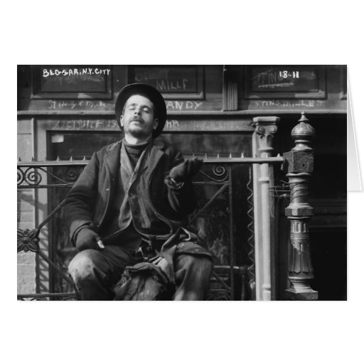 Beggar in New York City in Early 1900's Greeting Cards