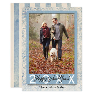 Begin Anew Blue | Happy New Year Family Photo Card