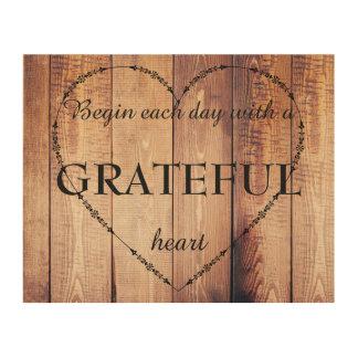 Begin each Day with a Grateful Heart Inspirational Wood Wall Art