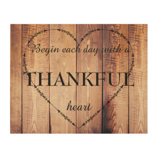 Begin each Day with a THANKFUL Heart Inspirational Wood Wall Art