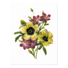 Begonia and Purple Periwinkles Redoute Bouquet Postcard
