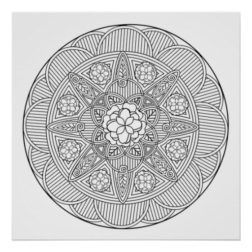 Begonia Flowers Flower Art Mandala Colouring Page Poster