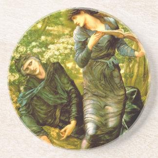 Beguiling of Merlin ~ Burne-Jones 1874 Painting Beverage Coaster