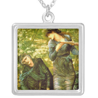 Beguiling of Merlin ~ Burne-Jones 1874 Painting Square Pendant Necklace