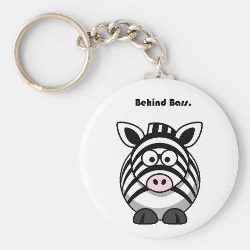 Behind Bars Zebra Cartoon Key Chains