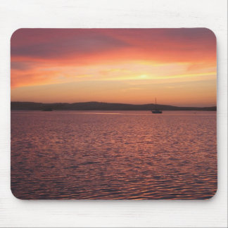 Behind Bayside Cafe - Red, Yellow, And Pink Sunset Mouse Pad