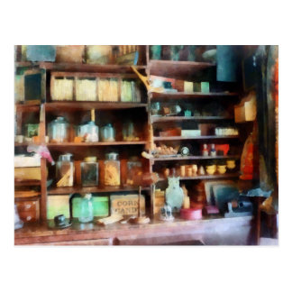 Behind the Counter at the General Store Postcard