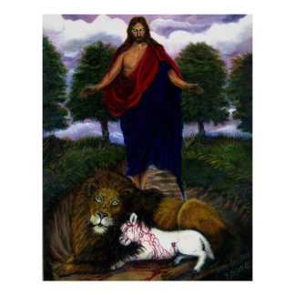 Behold! I Come Quickly! Jesus, Lion and Lamb Poster