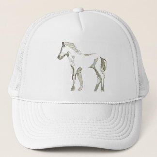 Beige abstract horse drawing in grey and tons - cap