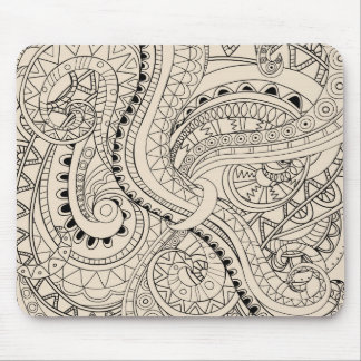 beige abstract zen pattern mouse pad
