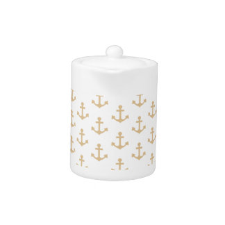 Beige Anchor Pattern Nautical Sailor