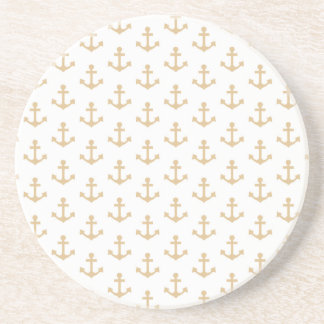 Beige Anchor Pattern Nautical Sailor Coaster