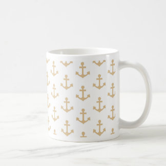 Beige Anchor Pattern Nautical Sailor Coffee Mug