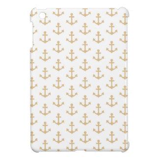 Beige Anchor Pattern Nautical Sailor iPad Mini Covers