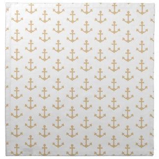 Beige Anchor Pattern Nautical Sailor Napkin