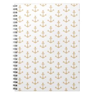 Beige Anchor Pattern Nautical Sailor Notebooks