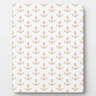 Beige Anchor Pattern Nautical Sailor Plaque