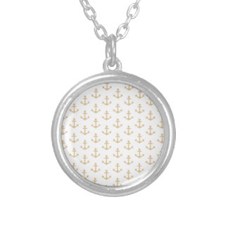 Beige Anchor Pattern Nautical Sailor Silver Plated Necklace