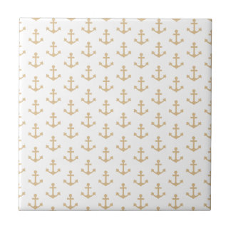 Beige Anchor Pattern Nautical Sailor Small Square Tile