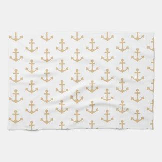 Beige Anchor Pattern Nautical Sailor Tea Towel