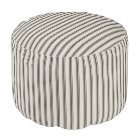 Beige and Black Classic Ticking Stripes Pouf