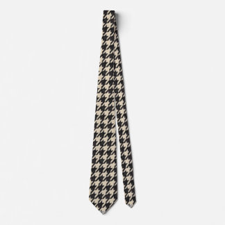Beige and black hounds tooth pattern tie