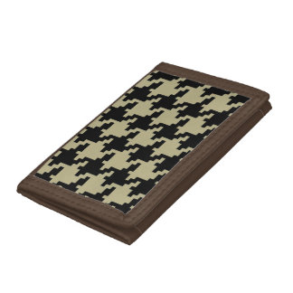 Beige And Black Hounds Tooth Pattern Tri-fold Wallet