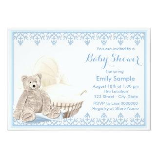 Beige and Blue Teddy Bear Baby Shower Card