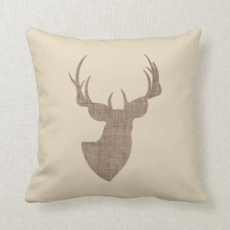 Beige and Brown Burlap Deer Silhouette Throw Pillow