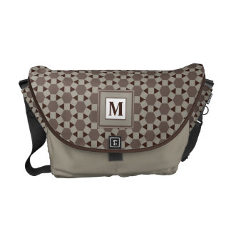 Beige and Brown Tessellation Pattern Monogram Bag Commuter Bags