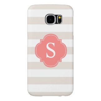 Beige and Coral Stripes Monogram Samsung Galaxy S6 Cases