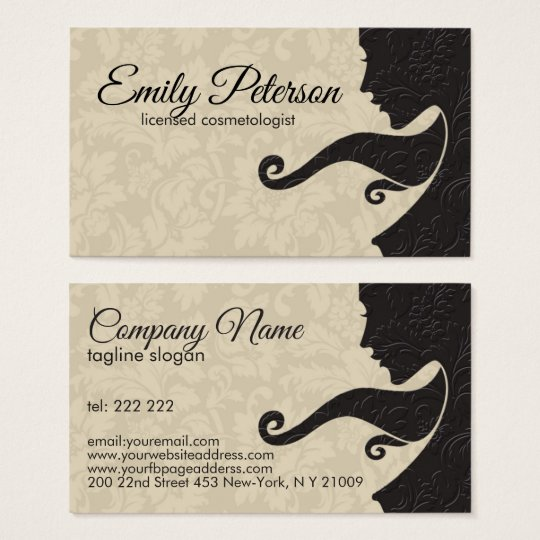 Beige And Dark Brown Beauty/Cosmetology Design Business Card