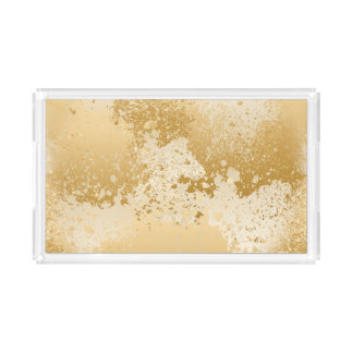 Beige and Gold Paint Splatter Acrylic Tray